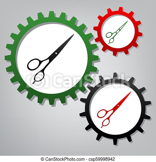Hair cutting scissors sign. Vector. Three connected gears with i - csp59998942