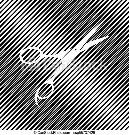 Hair cutting scissors sign. Vector. Icon. Hole in moire backgrou - csp55737429