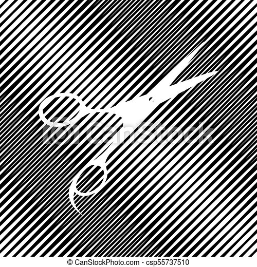 Hair cutting scissors sign. Vector. Icon. Hole in moire backgrou - csp55737510