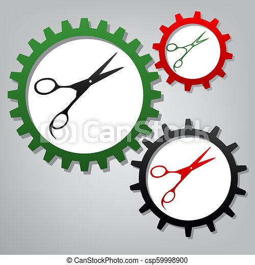 Hair cutting scissors sign. Vector. Three connected gears with i - csp59998900