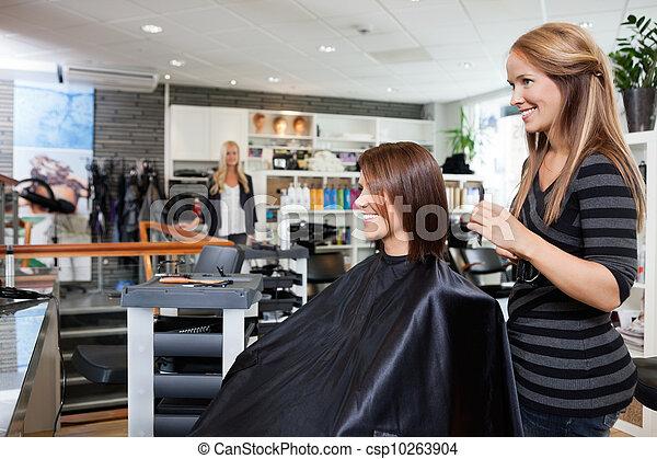 Hair Dresser with Customer in Beauty Salon - csp10263904