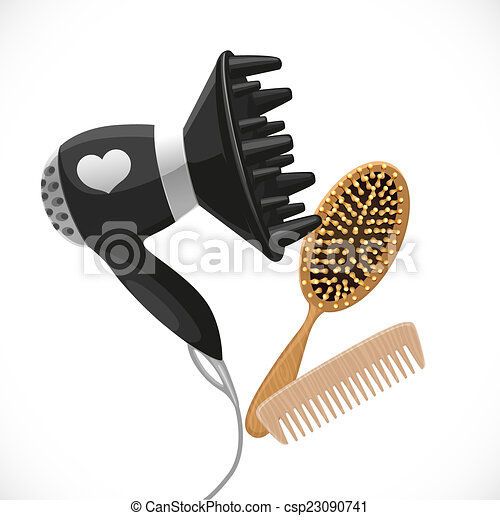 Hair dryer with diffuser and combs isolated on a white background - csp23090741