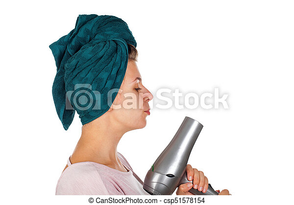 Hair drying after shower - csp51578154