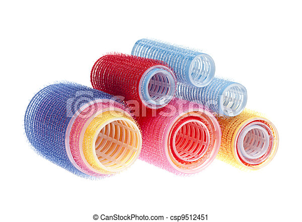 Hair rollers on white - csp9512451