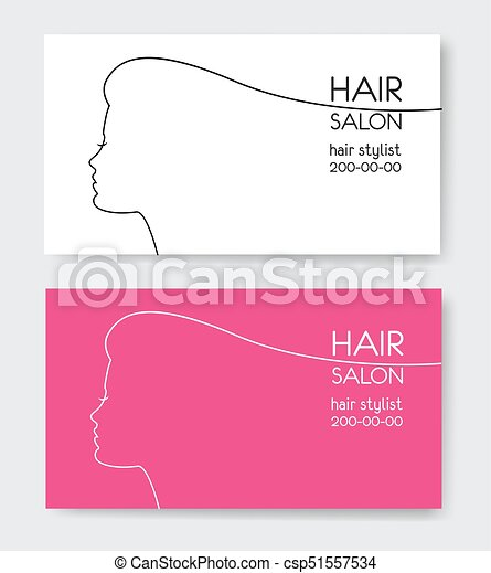 Hair salon business card templates with beautiful woman face hair salon business card templates with beautiful woman face sil csp51557534 accmission Image collections