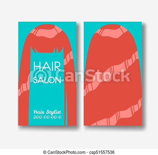 Hair Salon Business Card Templates With Red Hair On Green - Hair salon business card template