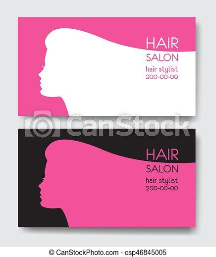 Hair salon business card templates with beautiful woman face hair salon business card templates with beautiful woman face sil csp46845005 wajeb Images