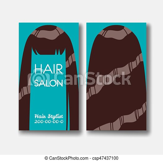 Hair salon business card templates with brown hair on green background hair salon business card templates with brown hair on green back csp47437100 wajeb Images