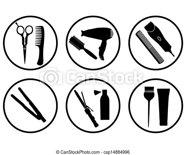 Hair Salon Icon Vector Silhouettes Hairdressing Supplies In Icons