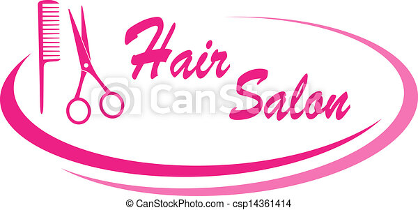 modern pink hair salon sign with design elements and text clipart rh canstockphoto com hair stylist clip art free hair stylist logo clipart