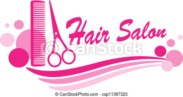 pink hair salon sign with scissors silhouette and design elements rh canstockphoto com hair salon clipart vector vintage hair salon clipart