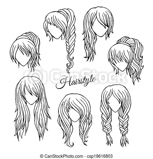 Hair styles sketch vector set - csp19616803