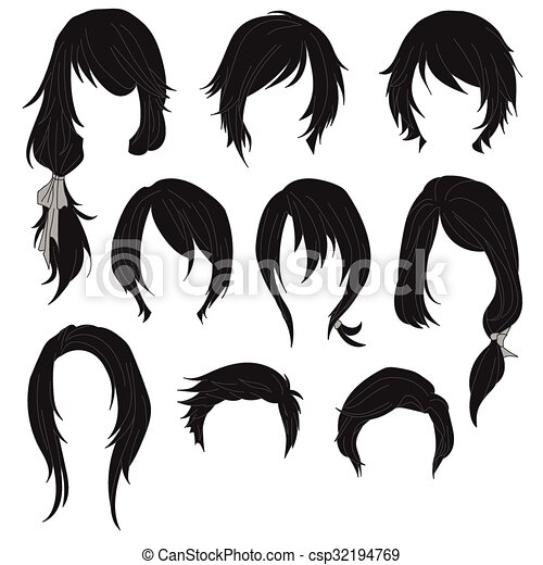 Hair styling for woman drawing Black Set 1 - csp32194769