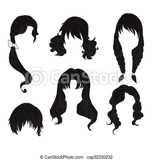 Hair styling for woman drawing Black Set 4 - csp32330232