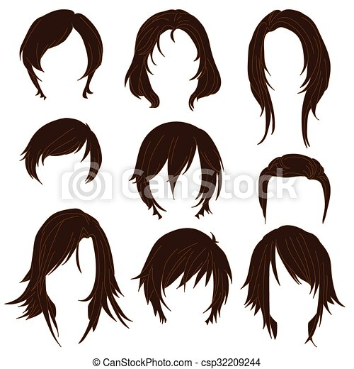 Hair styling for woman drawing Brown Set 2 - csp32209244