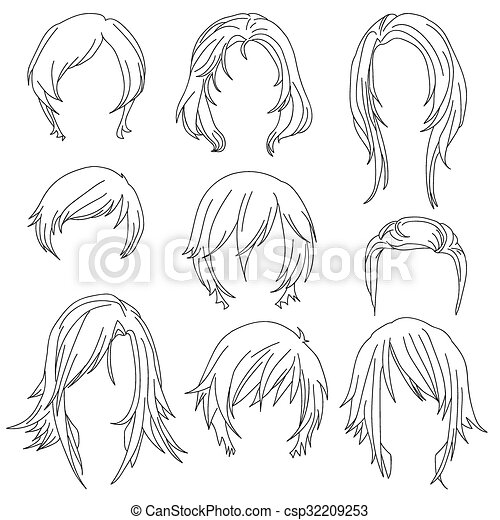 Hair styling for woman drawing Set 2 - csp32209253
