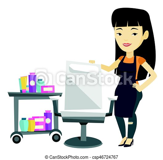 hair stylist at workplace in barber shop young asian hair clip rh canstockphoto com animated hair stylist clipart hair stylist clip art free