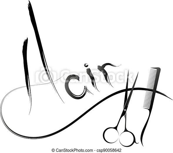Hair symbol with scissors and comb - csp90058642