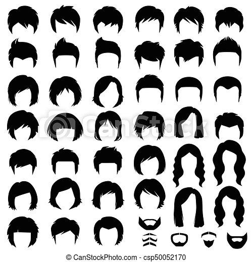 Woman And Man Hair Vector Hairstyle Silhouette Canstock