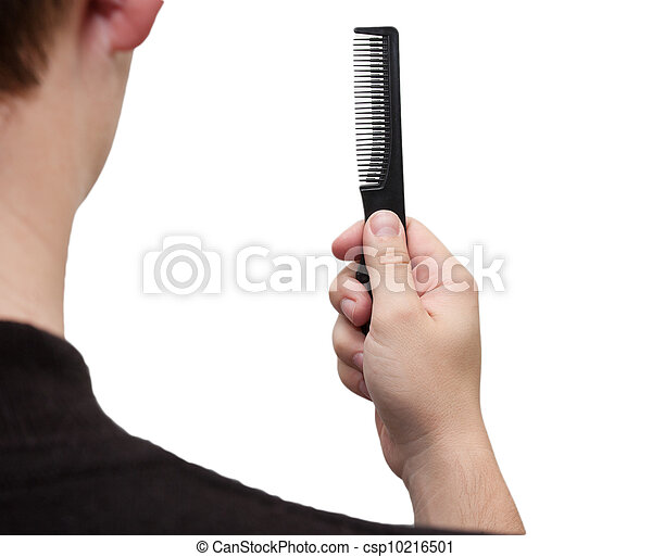 hairbrush in her hand a man on a white background - csp10216501