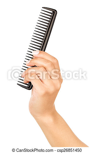hairbrush in the hand isolated on white - csp26851450