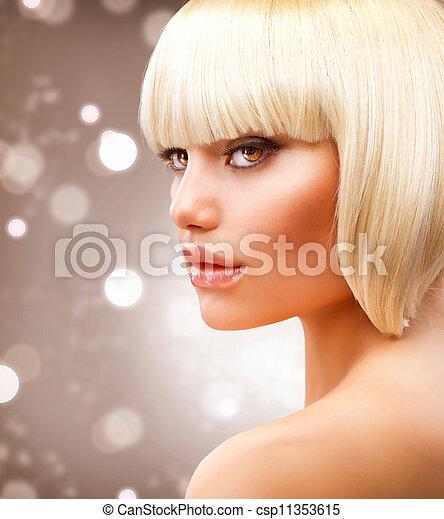 Haircut. Beautiful Girl with Healthy Short Blond Hair  - csp11353615