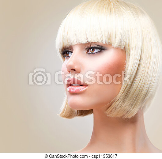 Haircut. Beautiful Girl with Healthy Short Blond Hair. Hairstyle  - csp11353617