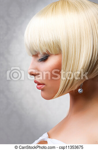 Haircut. Beautiful Girl with Healthy Short Blond Hair. Hairstyle - csp11353675