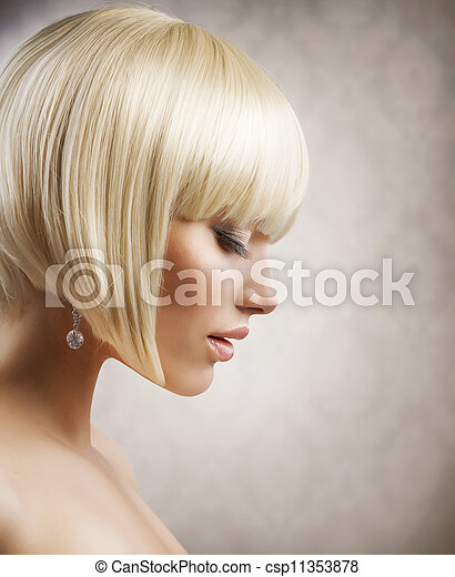 Haircut. Beautiful Girl with Healthy Short Blond Hair. Hairstyle  - csp11353878