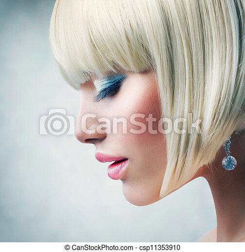 Haircut. Beautiful Girl with Healthy Short Blond Hair  - csp11353910