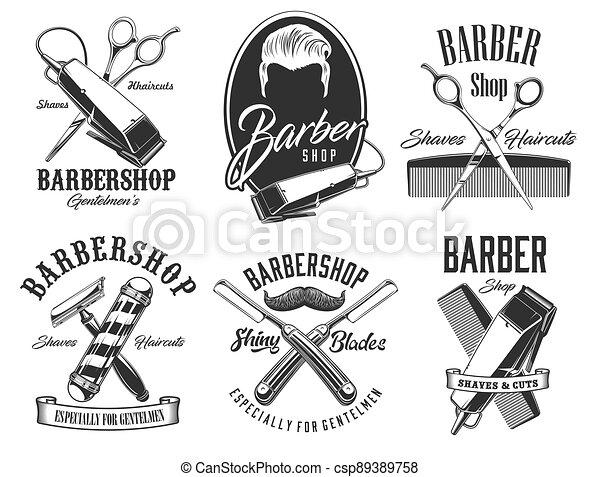 Haircut head, mustaches, scissors barbershop signs - csp89389758