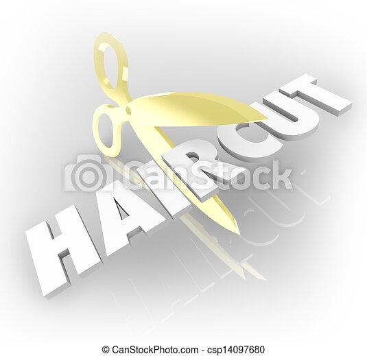 Haircut Word Gold Scissors Cutting Hair Salon Style - csp14097680