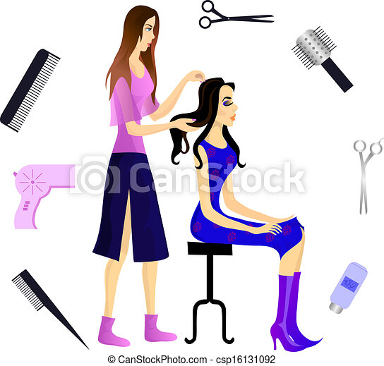 hairdresser and her client eps 10 hairdresser and her client and rh canstockphoto com beautician birthday clipart beautician clipart images
