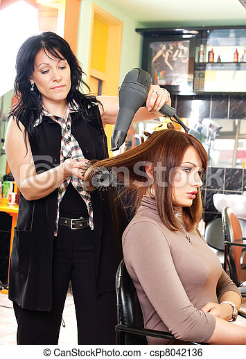 Hairdresser and the girl - csp8042136