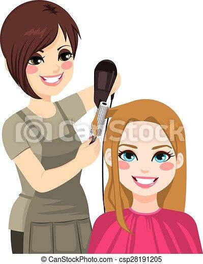 Hairdresser Drying Hair - csp28191205