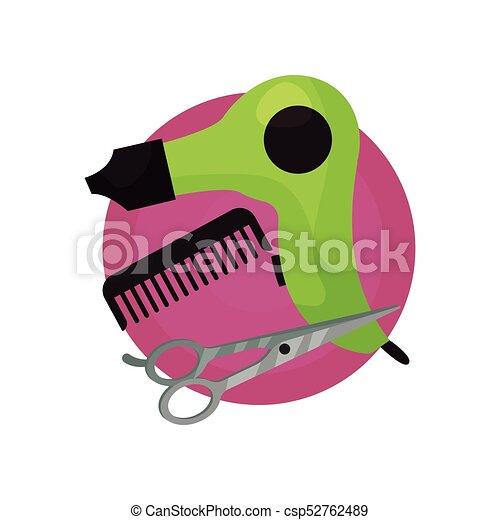 Hairdresser icon, hair dryer, comb, scissors, barbershop symbols cartoon vector Illustration - csp52762489