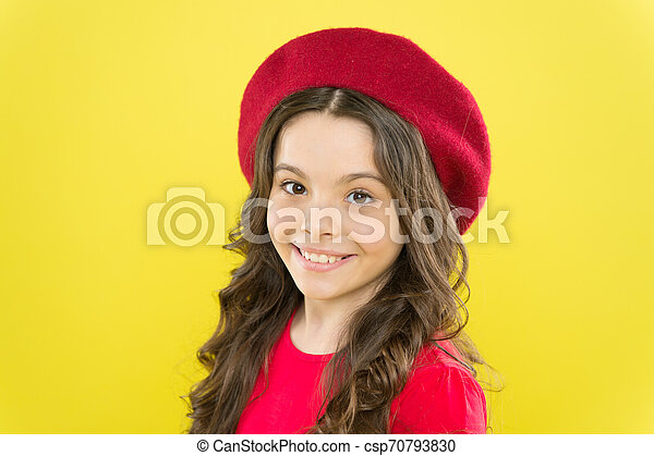 Hairdresser Service Kid Girl Long Healthy Shiny Hair Perfect Curls Kid Cute Face With Adorable Curly Hairstyle Wear Beret