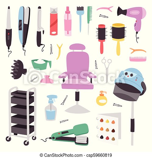 Hairdressing Salon Barbershop Devices Symbols Fashion Hairdresser Professional Stylish Barber Tools For Cutting Vector