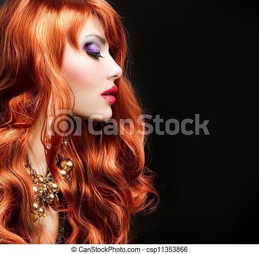 haired, encima, negro, retrato, niña, rojo - csp11353866