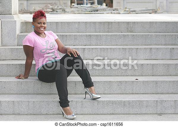 haired, mujer, rojo, feliz - csp1611656