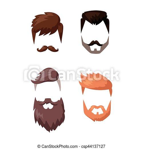 Hairstyle beard and hair face cut mask flat cartoon vector. - csp44137127