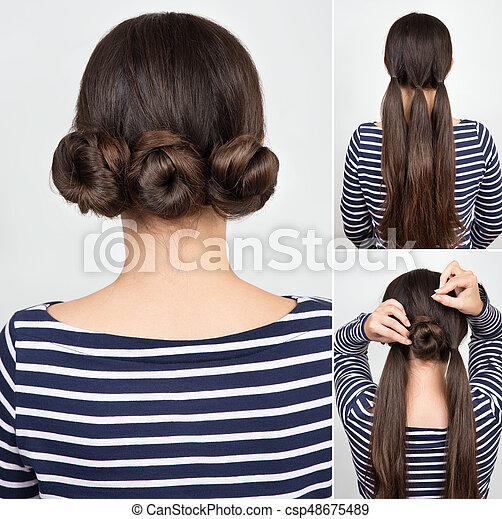 Hairstyle Buns Tutorial Hairstyle Three Twisted Buns Hairstyle