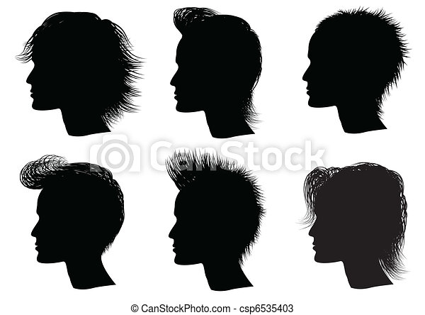 Hairstyle elements for salon with face. Vec tor portraits of man - csp6535403