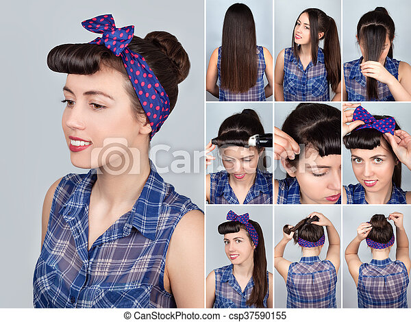 Hairstyle For Long Hair Retro Bun Tutorial Simple Hairstyle Bun