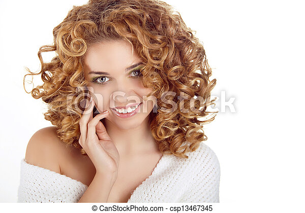 Hairstyle. Healthy Curly Hair. Beauty portrait of attractive young woman with long wavy hairs - csp13467345