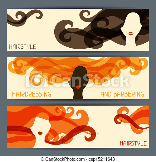 Hairstyle horizontal banners. - csp15211643