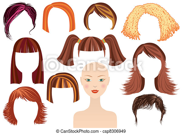 Hairstyle. Woman face and set of haircuts - csp8306949
