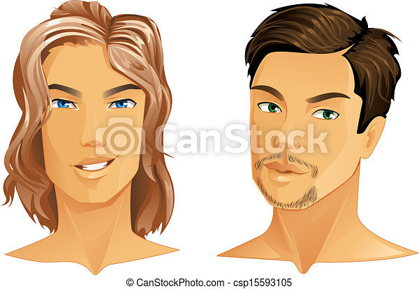 Hairstyles Two Handsome Men With Different Hairstyle Vector Clipart