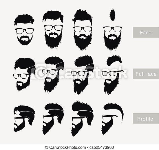 hairstyles with a beard in the face, full face and profile. clip