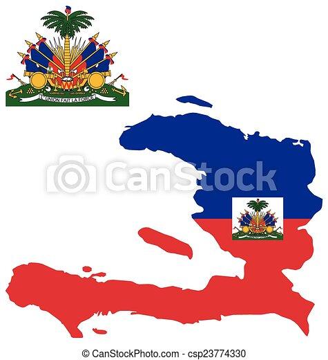 Haiti Flag Flag And Coat Of Arms Of The Republic Of Haiti Overlaid